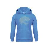 Youth Light Blue Fleece Hood-Jaguar Head Rhinestones