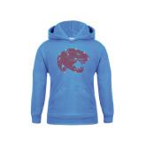 Youth Light Blue Fleece Hoodie-Jaguar Head Rhinestones