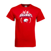 Red T Shirt-Jaguars Basketball Arched In Ball