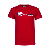Youth Red T Shirt-Jaguar Head w/ Flat Logo