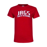 Youth Red T Shirt-Jags South Alabama Arched