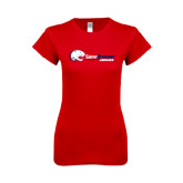 Next Level Ladies SoftStyle Junior Fitted Red Tee-Jaguar Head w/ Flat Logo