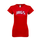 Next Level Ladies SoftStyle Junior Fitted Red Tee-Jags Arched