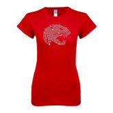 Next Level Ladies SoftStyle Junior Fitted Red Tee-Jaguar Head Rhinestones