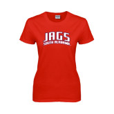Ladies Red T Shirt-Jags South Alabama Arched