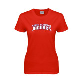 Ladies Red T Shirt-South Alabama Jaguars Arched