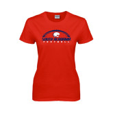 Ladies Red T Shirt-South Alabama Football Arched