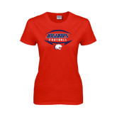 Ladies Red T Shirt-Jaguars Football In Ball