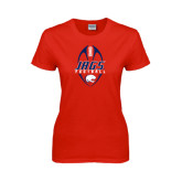 Ladies Red T Shirt-Jags Football Tall