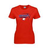 Ladies Red T Shirt-Jaguars Football Stacked