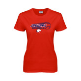 Ladies Red T Shirt-Jaguars Baseball Flying Ball