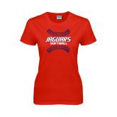 Ladies Red T Shirt-Jaguars Softball Seams Horizontal