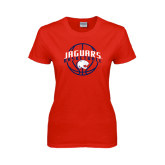 Ladies Red T Shirt-Jaguars Basketball In Ball