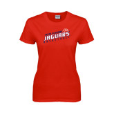 Ladies Red T Shirt-South Alabama Jaguars Basketball Slanted