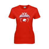 Ladies Red T Shirt-Jaguars Basketball Arched In Ball