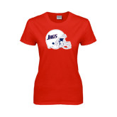 Ladies Red T Shirt-Jags Helmet