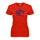 Ladies Red T Shirt-Jaguar Head Rhinestones