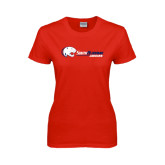 Ladies Red T Shirt-Jaguar Head w/ Flat Logo