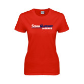 Ladies Red T Shirt-South Alabama Jaguars