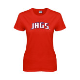 Ladies Red T Shirt-Jags Arched