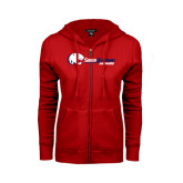 Ladies Red Fleece Full Zip Hoodie-Jaguar Head w/ Flat Logo