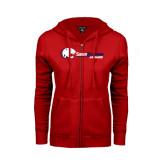 ENZA Ladies Red Fleece Full Zip Hoodie-Jaguar Head w/ Flat Logo