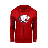 Ladies Red Fleece Full Zip Hoodie-Jag Head