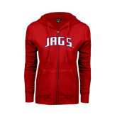 Ladies Red Fleece Full Zip Hoodie-Jags Arched
