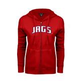 ENZA Ladies Red Fleece Full Zip Hoodie-Jags Arched