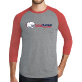 Grey/Red Heather Tri Blend Baseball Raglan-Jaguar Head w/ Flat Logo