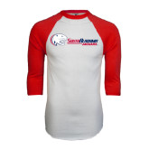 White/Red Raglan Baseball T-Shirt-Jaguar Head w/ Flat Logo