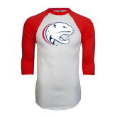 White/Red Raglan Baseball T-Shirt-Jag Head Distressed