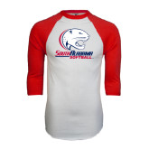 White/Red Raglan Baseball T-Shirt-Softball
