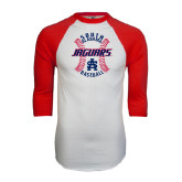 White/Red Raglan Baseball T-Shirt-Jaguars Baseball Seams