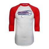 White/Red Raglan Baseball T-Shirt-Jaguars Baseball Flying Ball