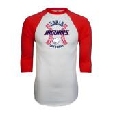 White/Red Raglan Baseball T-Shirt-Jaguars Softball Seams