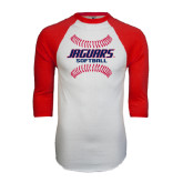 White/Red Raglan Baseball T-Shirt-Jaguars Softball Seams Horizontal