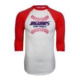White/Red Raglan Baseball T-Shirt-Jaguars Softball Seams Horizontal