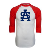 White/Red Raglan Baseball T-Shirt-SA Baseball Logo