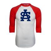 White/Red Raglan Baseball T-Shirt-SA Baseball Logo