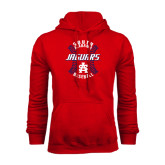 Red Fleece Hoodie-Jaguars Baseball Seams