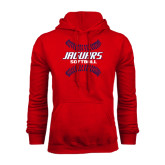Red Fleece Hoodie-Jaguars Softball Seams Horizontal