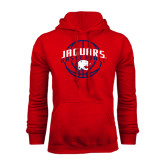 Red Fleece Hood-Jaguars Basketball In Ball
