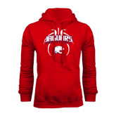 Red Fleece Hoodie-Jaguars Basketball Arched In Ball