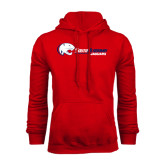 Red Fleece Hoodie-Jaguar Head w/ Flat Logo