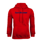 Red Fleece Hood-South Alabama Flat Logo