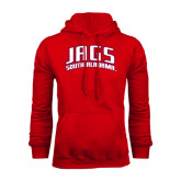 Red Fleece Hoodie-Jags South Alabama Arched