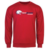 Red Fleece Crew-Jaguar Head w/ Flat Logo