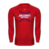 Under Armour Red Long Sleeve Tech Tee-Jaguars Softball Seams Horizontal