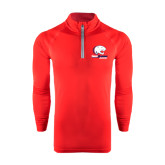 Under Armour Red Tech 1/4 Zip Performance Shirt-Official Logo
